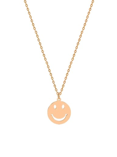 Titanium 316L Stainless Steel Smiley Minimalist Long Strand Necklace with e-coated waterproof