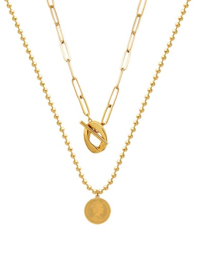 Gold  Double necklace Titanium 316L Stainless Steel Geometric Vintage Multi Strand Necklace with e-coated waterproof