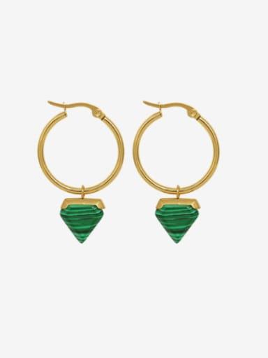 Titanium Steel Turquoise Triangle Minimalist Huggie Earring
