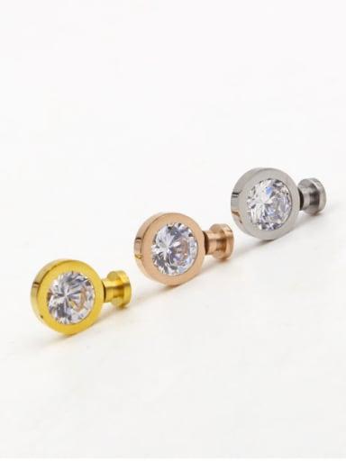 Titanium Cubic Zirconia Round Dainty Stud Earring