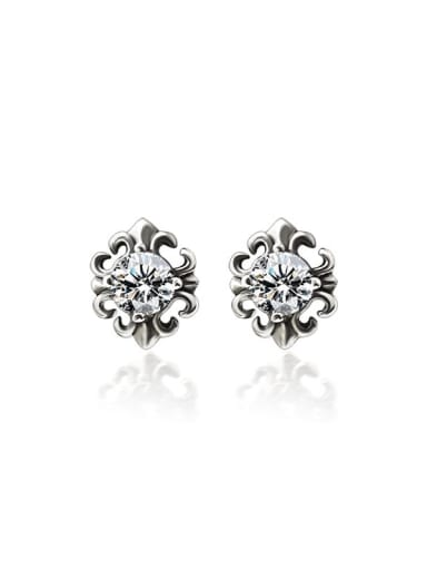 Titanium Steel Cubic Zirconia Flower Vintage Stud Earring