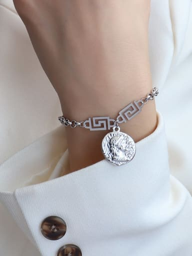 Titanium 316L Stainless Steel Vintage Irregular  Braclete and Necklace Set with e-coated waterproof