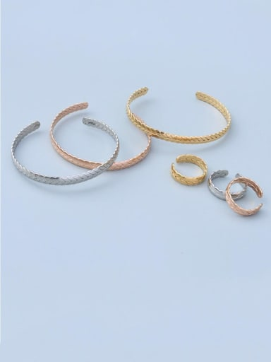 Titanium 316L Stainless Steel Hip Hop Geometric  Ring and Bangle Set with e-coated waterproof