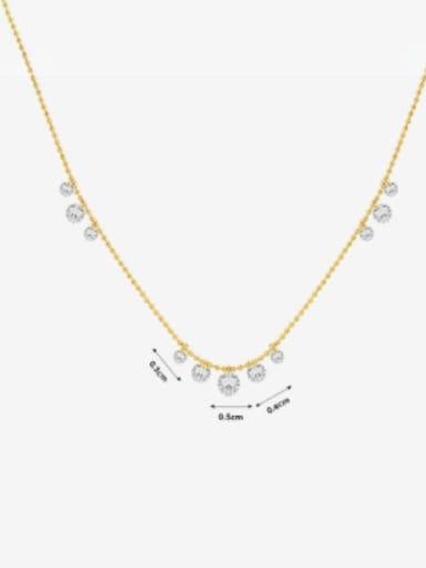 P070 gold zircon necklace 40+ 5cm Titanium Steel Rhinestone Geometric Minimalist Necklace
