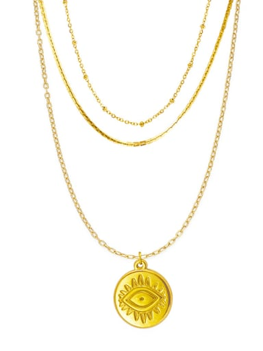 French Fine Eye Coin Pendant Multi-layered snake-shaped clavicle chain