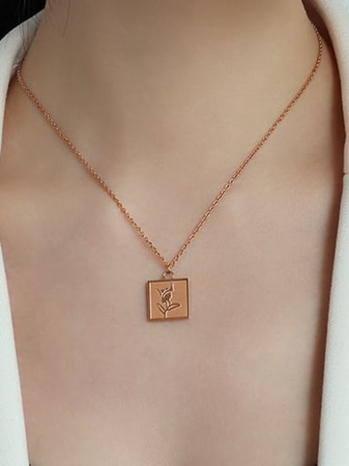 Rose Gold Flower Necklace 40+5cm Stainless steel Flower Minimalist Necklace with e-coated waterproof