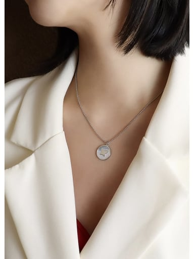 Steel Butterfly  40+5cm Titanium Steel Shell Round Minimalist Necklace