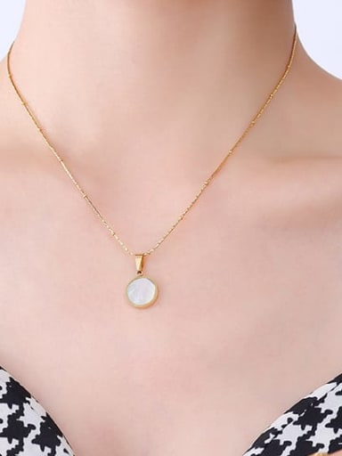 P425 Gold Round White Seashell Titanium Steel Acrylic Geometric Minimalist Necklace