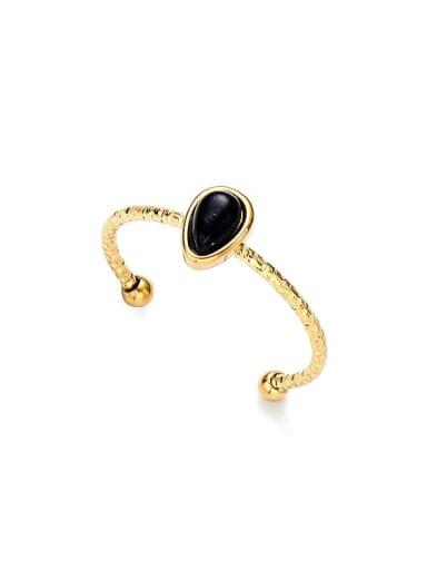 Black Water drop natural stone simple open titanium steel ring