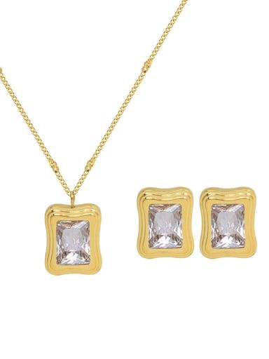 Titanium Steel Cubic Zirconia Vintage Geometric  Earring and Necklace Set