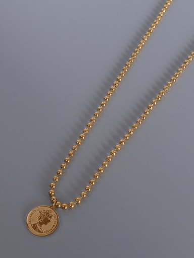 gold round bead  necklace Titanium Steel Geometric Vintage Multi Strand Necklace
