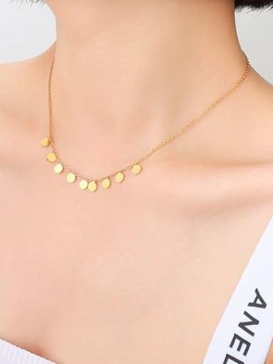 P677 gold necklace 40 +5cm Titanium Steel Minimalist Round  Bracelet and Necklace Set
