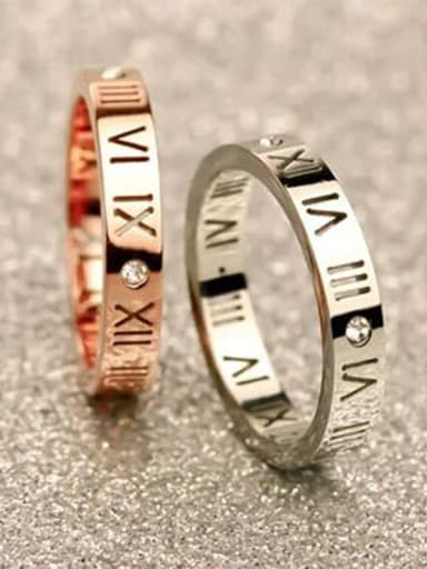 Titanium  Number Cubic Zirconia Number Classic Band Ring