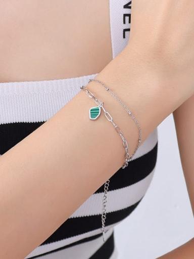 E020 steel Titanium Steel Enamel Geometric Minimalist Strand Bracelet