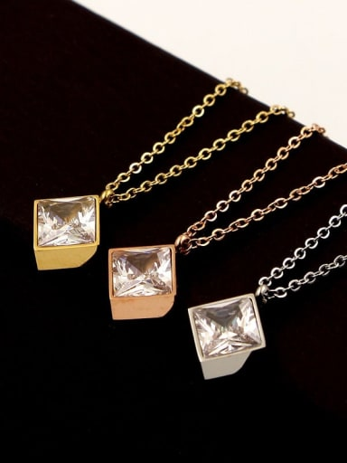 Titanium with Cubic Zirconia  Square Minimalist Necklace