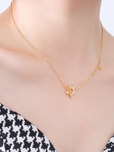 P073 Gold Star Necklace 43+ 5cm Titanium Steel Geometric Minimalist Hollow Chain Necklace