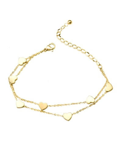 Titanium 316L Stainless Steel Heart Minimalist Strand Bracelet with e-coated waterproof