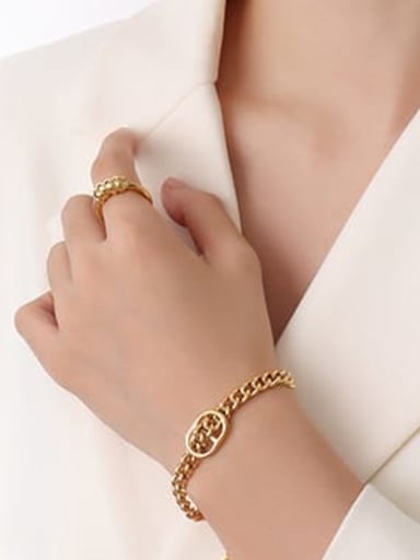 E001 gold bracelet 15 +5cm Titanium Steel Vintage Irregular  Earring And Braclete Set