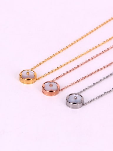 Titanium Shell Round Dainty Necklace