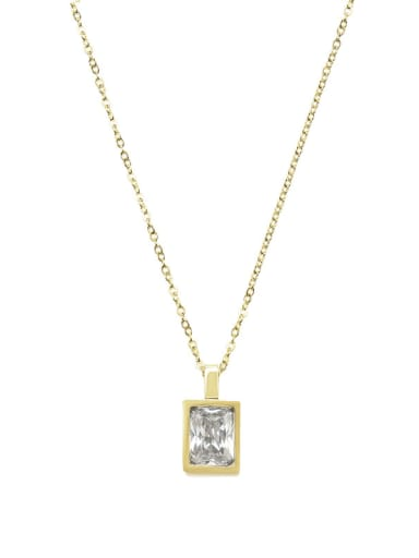 White Light luxury compact French square color zirconium necklace