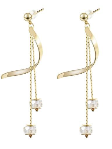 Long crystal thin temperament Tassel Earrings
