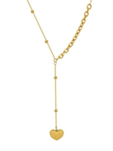 heart tassel  Gold 38+5cm Titanium Steel Tassel Minimalist Heart Lariat Necklace