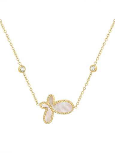 P081 Gold Butterfly  40 +5cm Titanium Steel Shell Butterfly Minimalist Necklace