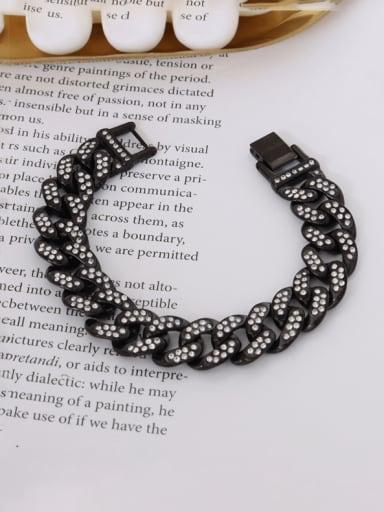 E008 Black Bracelet 16cm Titanium Steel Rhinestone Geometric Hip Hop Bracelet