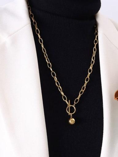 P353 gold  60cm Titanium Steel Geometric Luxury Hollow Chain Necklace