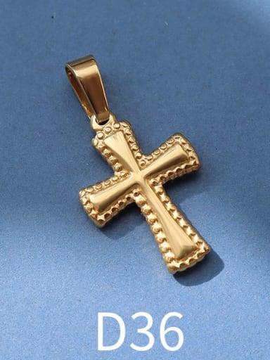 D36 gold Titanium Steel Vintage  Cross Pendant