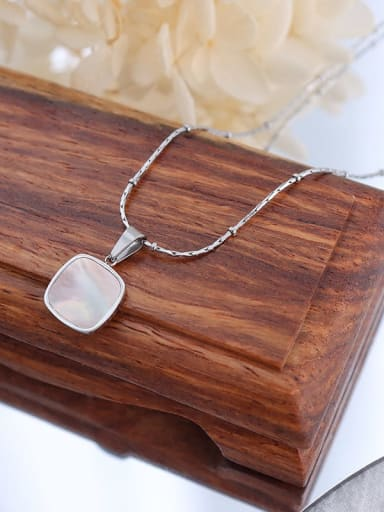 P423 steel square white Seashell Titanium Steel Acrylic Geometric Minimalist Necklace