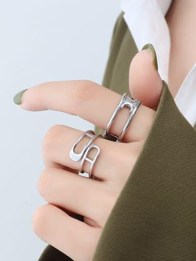 A279 steel ring Titanium Steel Geometric Minimalist Stackable Ring