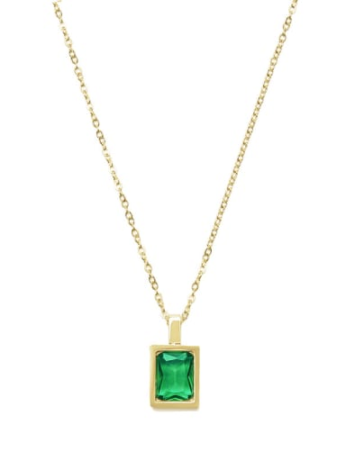Green Light luxury compact French square color zirconium necklace