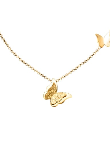 Titanium 316L Stainless Steel Butterfly Cute Necklace with e-coated waterproof