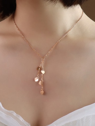 P014 rose gold 40+5cm Titanium 316L Stainless Steel heart Vintage Tassel Necklace with e-coated waterproof