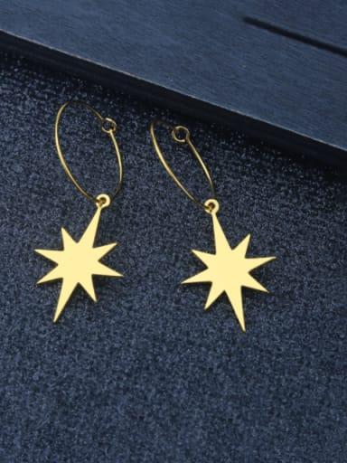 Octagonal Star steel color pair Titanium Steel Star Minimalist  Heart Shaped Huggie Earring