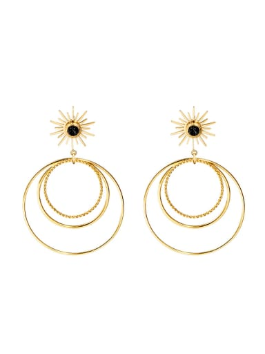 French style natural stone simple multi circle exaggerated Earrings