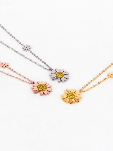 Titanium Cubic Zirconia Flower Dainty Necklace