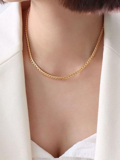 P053 gold wide Necklace 40 +5cm Titanium Steel Vintage Irregular Bracelet and Necklace Set