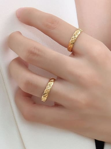 A232 gold Titanium Steel Geometric Minimalist Band Ring