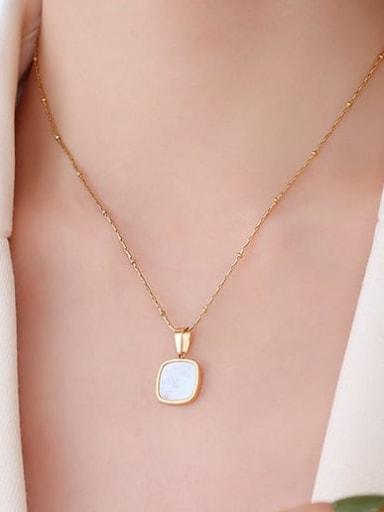 P423 gold square white Seashell Titanium Steel Acrylic Geometric Minimalist Necklace