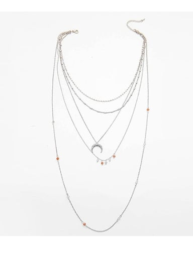 Silver Multilayer Long Crescent Alloy Necklace