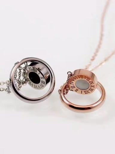 Titanium Shell Number Minimalist pendant Necklace