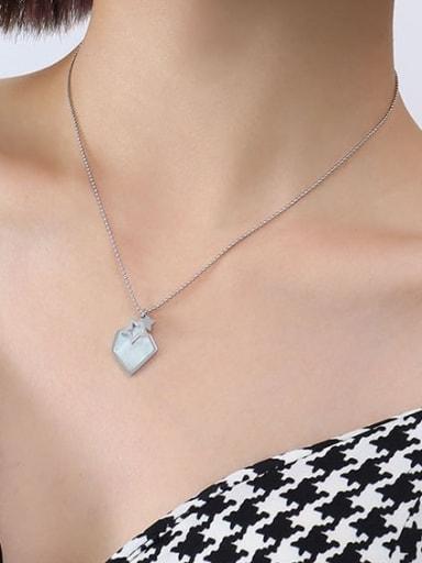 P557 Steel Necklace 40 +5cm Titanium Steel Shell Geometric Minimalist Necklace