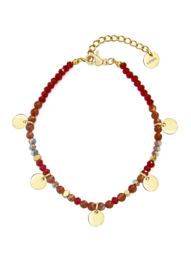 Red Stainless steel Round Bohemia Link Bracelet