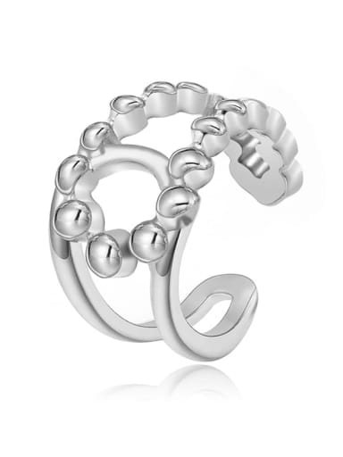 Silver Double C fashion wide hollow smooth stainless steel ring