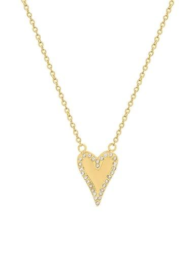 P090 gold necklace 40 +5cm Titanium Steel Rhinestone Heart Minimalist Necklace