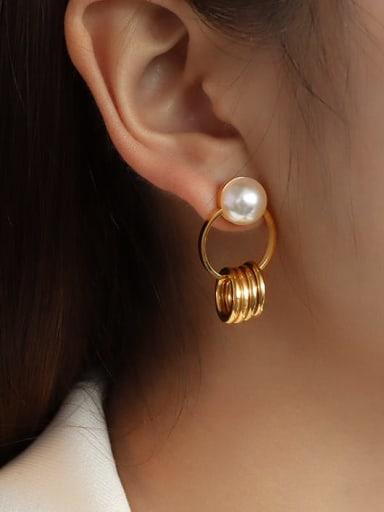 golden Stainless steel Imitation Pearl Irregular Minimalist Drop Earring with e-coated waterproof
