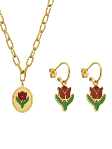 Titanium 316L Stainless Steel Enamel Vintage Friut  Earring and Necklace Set with e-coated waterproof