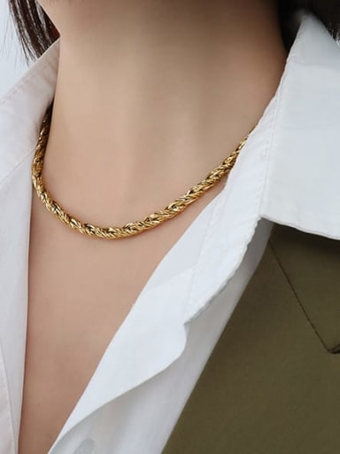 P088 gold necklace Titanium Steel Hip Hop Irregular Bracelet and Necklace Set